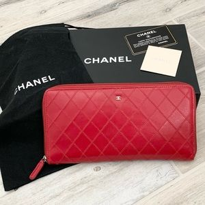 Chanel Red Quilted Travel Organizer Wallet